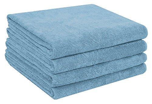 Home and Plan Quick Dry Premium 100% Turkish Cotton Bath Sheets | 4-Piece Set, Decorative Oversized Bath Towels (30x60) - Aqua (S9)
