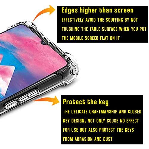 جراب سامسونج جالاكسي M30 - حماية كاملة للجسم مع واقي شاشة، غطاء شفاف مع حلقة حامل للهاتف المحمول وكابل الشحن - سهل التركيب - (6 عبوات)