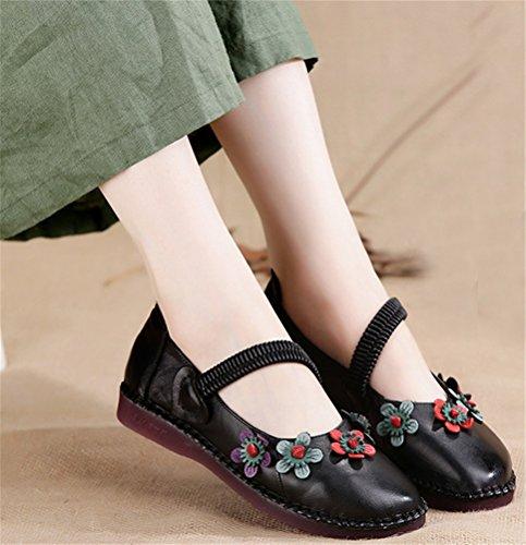 Chaussures Mocassins Satuki Faits À La Main Pour Les Femmes, Cuir Souple Pastorale Plate Chaussures Florales Plates Noires
