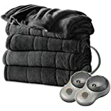 Sunbeam Heated Electric Blanket Channeled Microplush King Size Slate Grey