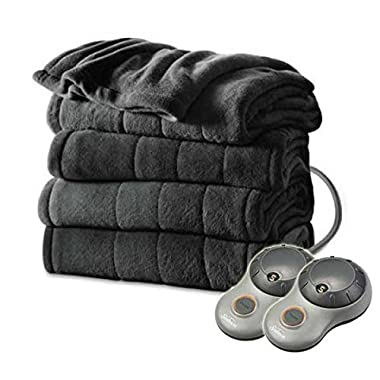 Sunbeam Heated Electric Blanket Channeled Microplush King Size Slate Grey