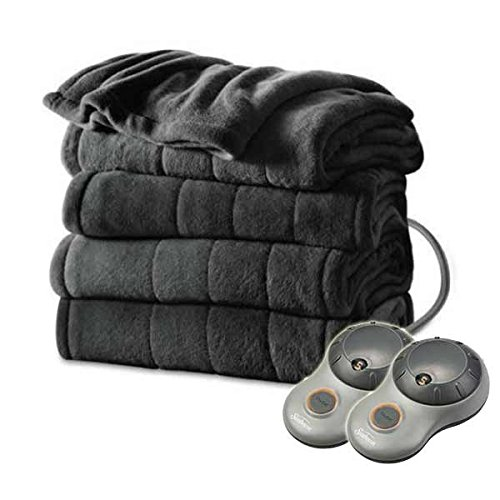 Sunbeam Heated Electric Blanket Channeled Microplush King Size Slate Grey Sunbeam Twin Electric Blanket