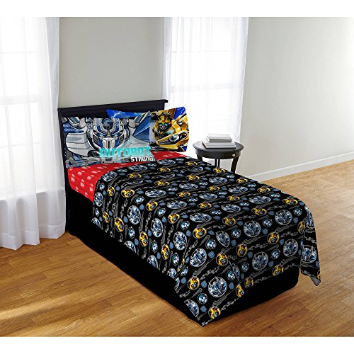 A&L 4 Piece Kids Black Transformers Sheet Set Full, Yellow Autobot Bedding Bumblebee Bed Sheets Last Knight Action Movie Blue Red Soft Cozy Elegant Luxurious Gorgeous Durable Stylish, Polyester by A&L