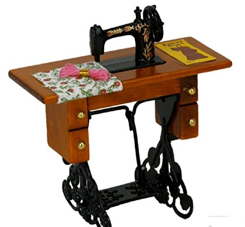 New Miniature Furniture Dollhouse Vintage Sewing Machine With Cloth New In Box 1/12 Scale Dolls Accessories (Box Shark Sewing)