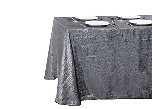 LinenTablecloth Rectangular Crinkle Taffeta Tablecloth, 90 x 132, -