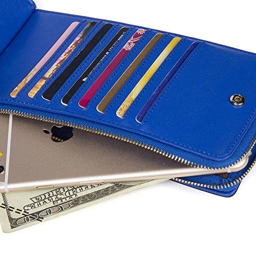 BOSTANTEN Genuine Leather Wallet Clutch Card Cash Holder Wallets for Women Blue