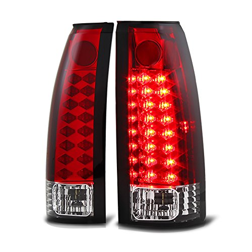 VIPMOTOZ Premium LED Tail Light Lamp For 1988-1999 Chevy GMC C/K 1500 2500 3500 Pickup - Rosso Red Lens, Driver and Passenger ()