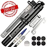 Wellner Sports Mini Bike Pump – 260 PSI For both Schrader & Presta Valves – Mounting Bracket, Ball Needle, Balloon Valve & BONUS Patches - Efficient Cycle Hand Portable Air Pump