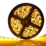 EverBright Super Brightness Amber 5M(16.4Ft) 5050 SMD 60LED/M 300 LED Waterproof Flexible Light Strip PCB Black For Car truck Neon Undercar Lighting Kits Mall booth House decoration Stage music Color