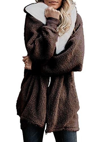 ReachMe Women's Oversized Full Zip Up Sherpa Hoodie Fleece Jacket with Pockets(Brown,S) ()