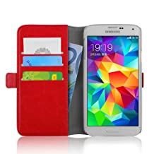 Galaxy S5 Case - Luxury Edition Leather Wallet Flip Cover for Samsung Galaxy S5 / S5 Neo, Red