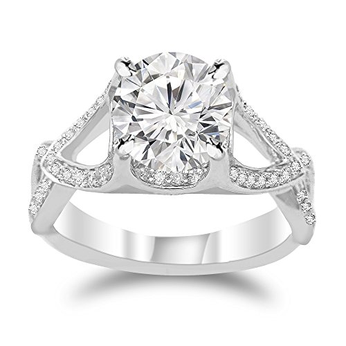[1.35 Cttw 14K White Gold Round Cut Split Shank Twisting Eternity Diamond Engagement Ring with a 0.85 Carat H-I Color SI1-SI2 Clarity Center] (Si2 Round Diamond Eternity Ring)