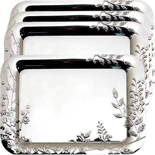 (Maro Megastore (Pack of 4) 17.7-Inch x 11.8-Inch Rectangular Chrome Plated Serving Tray 3D Leaf Leaves Engraved Victoria Design Decorative Style Birthday Buffet Party Dessert Food Wine 2141 L Tla-004)
