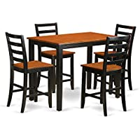 East West Furniture YAFA5-BLK-W 5 Piece Counter Height Small Kitchen Table and 4 Bar Stool Set