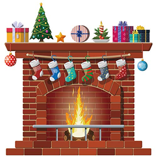 Iusun Christmas Fireplace Wall Stickers DIY Window Decals for Bedroom Living Room -