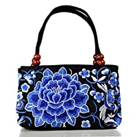 Cupcinu Double-Sided Embroidery Bag Embroidery Ethnic Shoulder Bags Chinese Style Women Handbag Fashion Handmade Ladies Tote Shoulder Bags Cross-body size27x10x18 cm (Deep Blue)