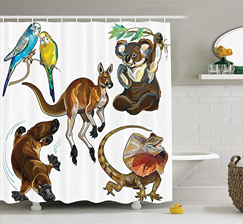 (lsrIYzy Animal Decor Collection, Koala Family on Dotted Spotted Background Marsupial Mascots of Mother Earth Child Print, Polyester Fabric Bathroom Shower Curtain Set with Hooks, Grey)