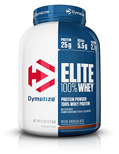 Dymatize Elite 100% Whey Protein Powder, Take Pre Workout or Post Workout, Quick Absorbing & Fast Digesting, Rich Chocolate, 5 Pound ()