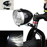 vintage bike light - GOODKSSOP Black Vintage Bicycle Bike 3 LED Retro Headlight Front Light Fog Head Night Safety Lamp