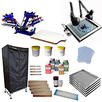 4 Color 1 Station Screen Printing Press Kit full set starter kit