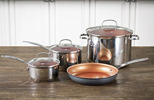 "Nuwave Duralon Ceramic Nonstick 7 Pc. Cookware Set (7 pc, Silver (includes 12"" Fry Pan ans covered 3 qt sauce pot)"