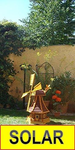 Solar-Windmühle Holz massiv, wetterfest,robust mit Bitumen, MIT WINDFAHNE Windrad-Seitenruder, Windmühlen Garten, imprägniert + kugelgelagert 1,30 m groß rot dunkelrot edelrot weinrot, mit SOLARBELEUCHTUNG