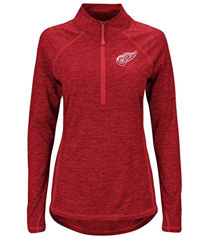 NHL Detroit Red Wings Improvise Long Sleeve Mock Neck 1/2 Zip Tee, Large, Athletic Red Zephyr Heather Athletic Red Zephyr Heather Athletic Red