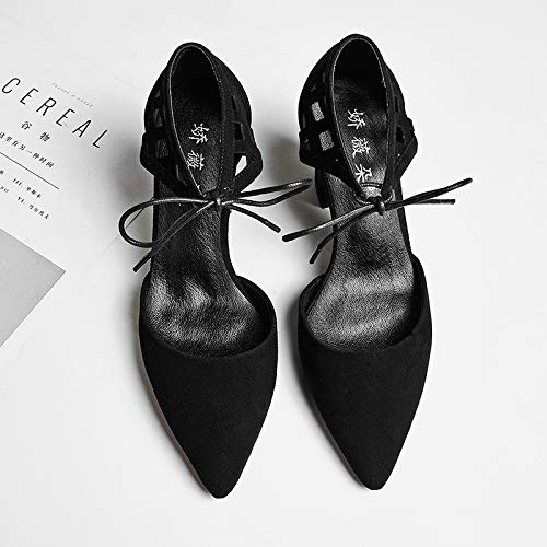 Hollow Hollow With Shoes Black Pu Shoes Women'S Carved Straps Heeled heels Autumn Yukun Cross Thick Single High High Lace IgwvYqnx1