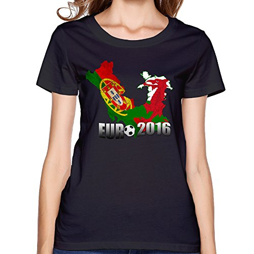CYANY European Football 2016 Portugal Women's Trendy T-shirts L Black