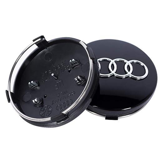 da Wickman Compatible Nero Lucido 60 mm Diametro Gestito e Spedito dallItalia Set di 4 Tappi Coprimozzo compatibili per Audi