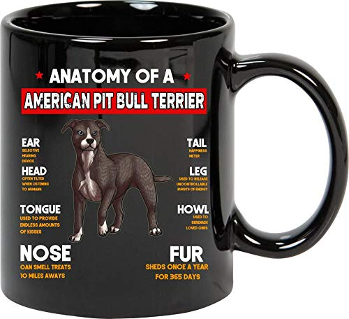 Anatomy Of A American Pit Bull Terrier Dogs Lovers Mug Black Ceramic 11oz Tea Cup ()
