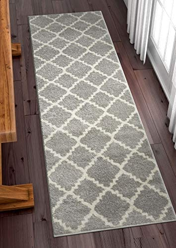 Harbor Trellis Grey Quatrefoil Geometric Modern Casual 2×7 2 3 x 7 3 Runner Easy to Clean Stain Fade Resistant Shed Free Contemporary Traditional Moroccan Lattice Soft Living Dining Room Rug