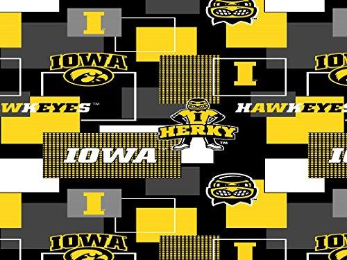 IOWA HAWKEYES COTTON FABRIC BLOCK PRINT-UNIVERSITY OF IOWA BLOCK PRINT COTTON FABRIC-NEWEST DESIGN