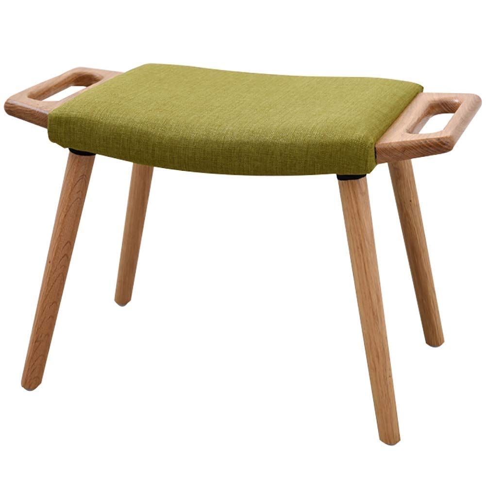 Grass Green Wood color ZHAOYONGLI Footstools,Otools Multifunction Non-Slip Fabric Stool Indoor Solid Wood Frame Portable (color   Grass Green, Size   Walnut color)