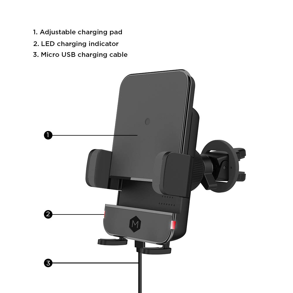 Compatible with iPhone Xs Max XR X 8 7 Plus Galaxy S9 S8 Plus Note 9 8 Mighty Mount Car Phone Mount Wireless Charging Air Vent Mount Phone Holder for Car Phone Holder with Adjustable pad