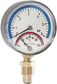 80/mm Thermomanometer Temperatura y man/ómetro de presi/ón 1//2BSP entrada lateral