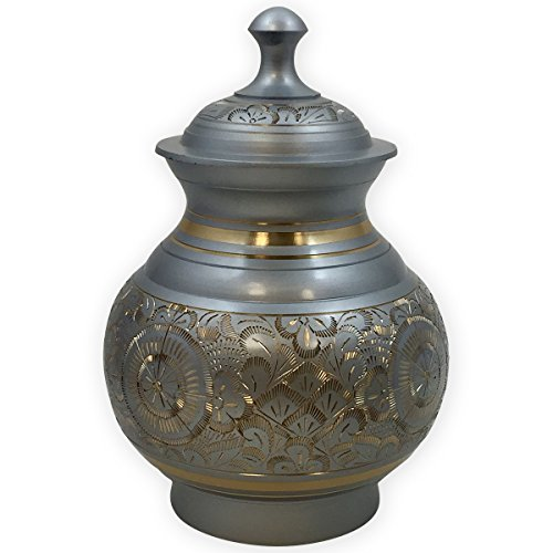 Vienna Small Cremation Urn by Beautiful Life Urns - Intricate Silver Urn Etched with Gold