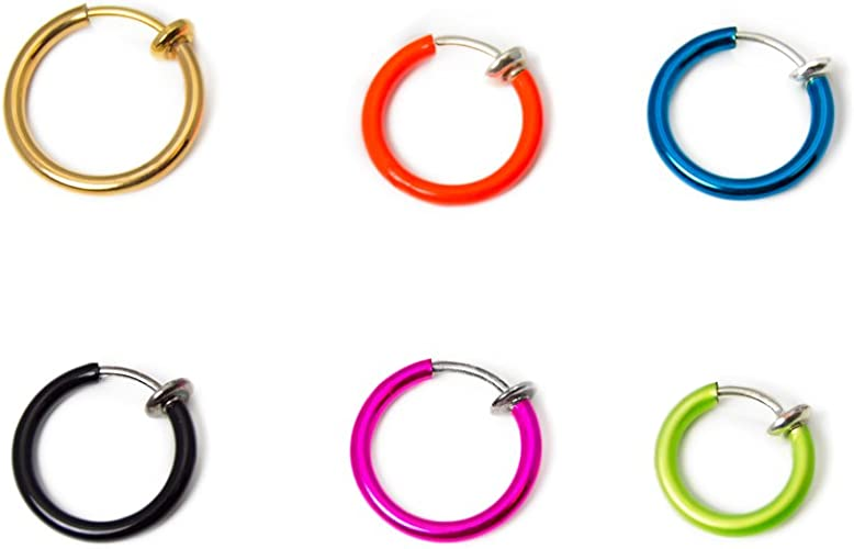 BodyJewelryonline Adulto 6 Pack de Anillos No-Pierce para Orejas ...