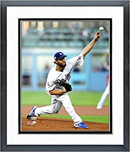 """Clayton Kershaw Los Angeles Dodgers 2017 MLB World Series Action Photo (Size: 12.5"""" x 15.5"""") Framed"""