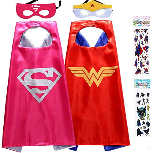 Superhero Dress Up Costumes for Kids, 2 Satin Capes and 2 Felt Masks - Superhero Party Supplies (Girls) Red]()