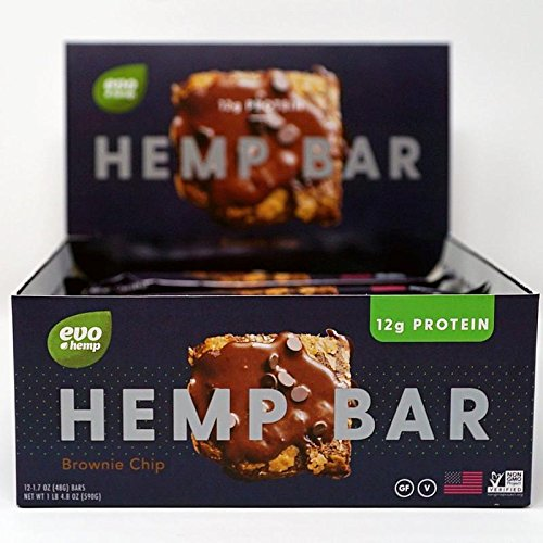 Evo Hemp Organic Protein Bar (Double Chocolate Brownie Bar, 12 Pack) Featuring White Plume Native American Hemp - Great Tasting High Fiber, Sustainably Sourced, Paleo and Vegan Friendly Protein Bar