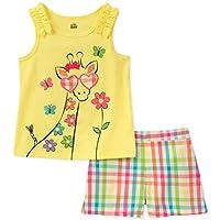Kids Headquarters Baby Girls 2 Pieces Shorts Set, Yellow, 24M