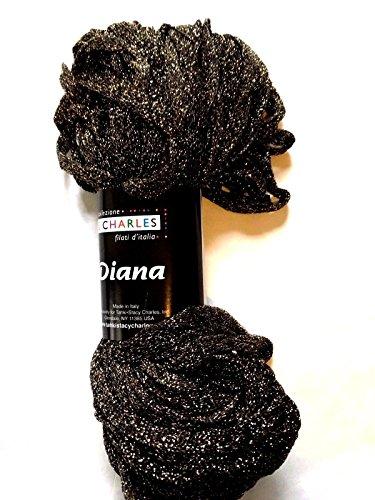 S Charles Diana Metallic Ribbon Yarn #6 Black Gold 50 Gram 1/4