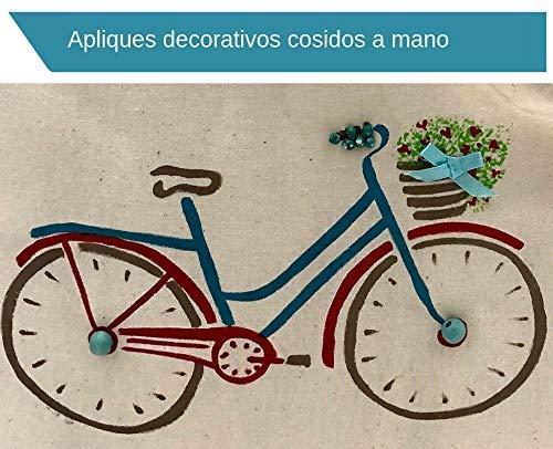 Bolso tote de algodón orgánico bici azul con flores pintada a mano: Amazon.es: Handmade
