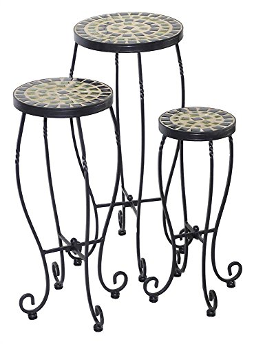 (3-Pc Shannon Round Ceramic Plant Stand Set)