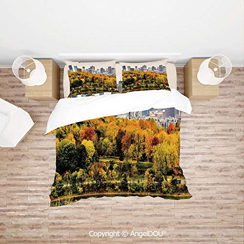 PUTIEN Durable Cotton Bedding Set (1 Duvet Covers+2 Pillowcases 1 Sheet),Montreal Downtown Skyscrapers Autumn Various Trees Colorful Forest Urban Life Nature,with Hidden Zipper Closure.