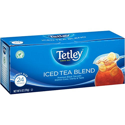 Tetley Black Tea, Iced Tea Blend, Family Size, 24 Round Tea