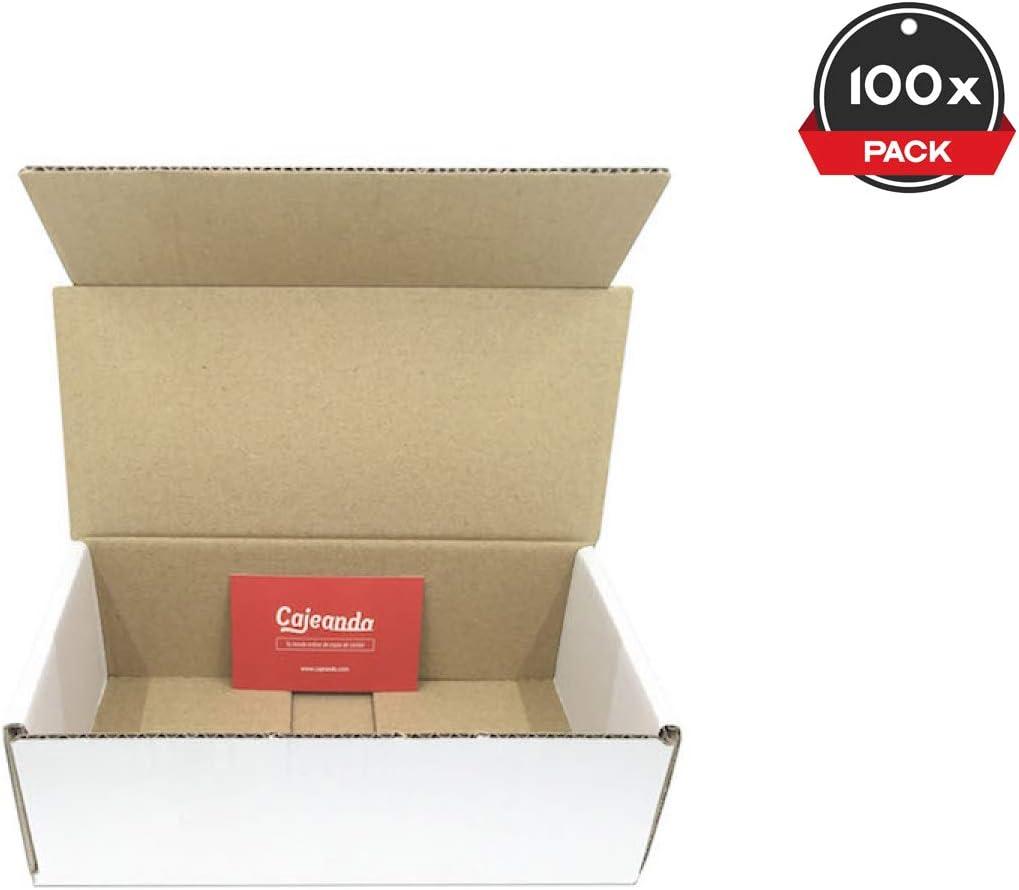 Cajeando   Pack de 100 Cajas de Cartón Automontables   Tamaño 21 x 10 x 7 cm   Canal Simple y Color Blanco   Para Mudanzas y Envíos   VARIOS PACKS   Fabricadas en España: Amazon.es: Oficina y papelería