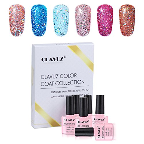- Gel Polish,CLAVUZ 6pcs Glitter Nail Polish Kit Soak Off UV LED Nail Lacquer Manicure Nail Art Tool Kit 10ML