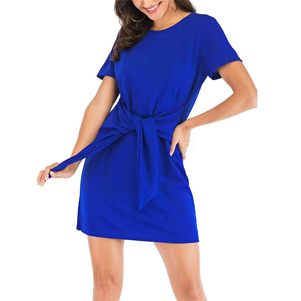 COOKI Women Dresses Casual Round Neck Puff Sleeve Tie Knot Front Pencil Dress Summer Dress Wedding Party Dress Blue